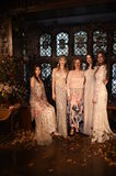 Designer Claire Pettibone and models posing during the Claire Pettibone Four Seasons Collection Showcase. NEW YORK, NY - SEPTEMBER 19: Designer Claire Pettibone Royalty Free Stock Photo