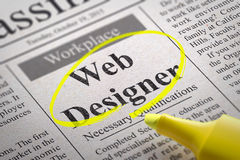 Designer Coder Jobs in Newspaper. Stock Photos