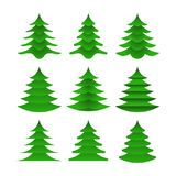 Designer collection Christmas trees in a flat style. Symbolic firs isolated on white background. Vector Icons Royalty Free Stock Photo