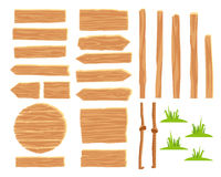 Designer for creating wooden road signs. Set of wooden tablets. Vector icons on white background. Elements for design. Concept of location. Designer for creating Stock Image