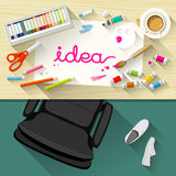 Designer desk artist, collections of flat design Royalty Free Stock Photography