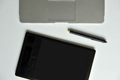 Designer Desk: Laptop and Graphic Tablet Stock Photo