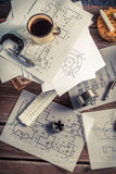 Designer desk of mechanical parts Stock Photos