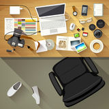 Designer desk photographer, Top view of desk background Stock Photos