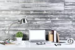Designer desktop front. Front view of creative designer desktop with blank laptop, table lamp, tablet, coffee cup, decorative plants, clock. Mock up Stock Photo