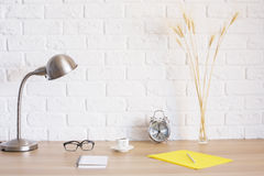 Designer desktop with various objects Stock Images