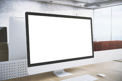 Designer desktop with white pc side. Creative designer workplace with empty white pc screen. Side view. Advertising concept. Mock up, 3D Rendering Stock Photo