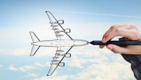 Designer draw airplane Royalty Free Stock Photos