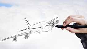 Designer draw airplane Stock Image