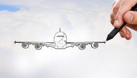 Designer draw airplane Royalty Free Stock Photography