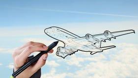 Designer draw airplane Royalty Free Stock Photo