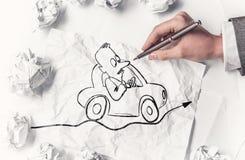 Designer draw caricature . Mixed media Royalty Free Stock Image