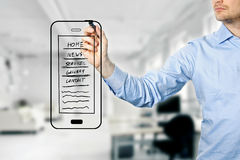 Designer drawing mobile website development wireframe Stock Photography