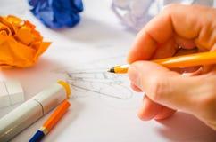Designer Drawing Royalty Free Stock Photos