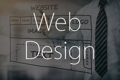 Designer drawing website development. Web development design designer seo content - stock image Stock Images