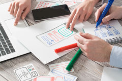 Designer drawing website ux app development. Stock Image