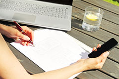 Designer drawing a wireframe for mobile web application stock photo