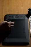 Designer Draws A Digital Pen Stock Images