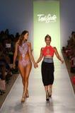 Designer Erin Thomas (R) and  model walks runway at the Toxic Sadie fashion show during MBFW Swim 2015 Stock Image