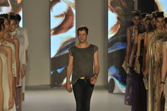 Designer Etienne Aigner and models walks the runway during the Aigner show as a part of Milan Fashion Week Royalty Free Stock Photo