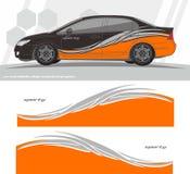 Designer för sats för bil- och medeldekaldiagram ordna till för att skriva ut och klippa för vinylklistermärkear royaltyfri illustrationer