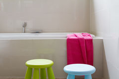 Designer family bathroom renovation with kids decor horizontal Stock Photo