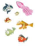 Designer Fish Vector Illustrations Royalty Free Stock Images