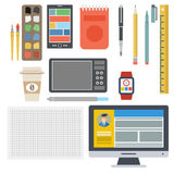 Designer Flat Set. Vector set of tools for web designer in flat style. The necessary tools for living and computer drawing, liners, smart watch, coffee Stock Photography