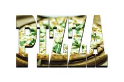 Font-pizza. Designer fonts on a white background. Text of the pizza by the pizza for the pizza. Designer fonts on a white background.Font-pizza. Text of the Royalty Free Stock Photos