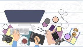 Designer-Fotograf Workspace Desk Stockbild