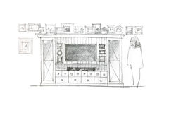 Designer freehand drawing of variant for wall unit for living ro Royalty Free Stock Photography