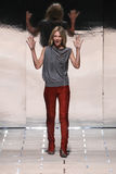Designer Gaia Trussardi walks the runway during the Trussardi show. MILAN, ITALY - SEPTEMBER 27: Designer Gaia Trussardi walks the runway during the Trussardi Stock Photography
