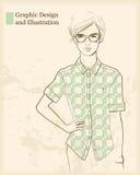 Designer girl. Young designer girl stylized portrait Royalty Free Stock Photo