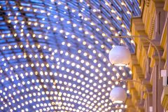 Lighting devices in GUM, Moscow. Royalty Free Stock Photos