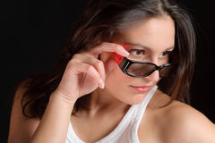Designer glasses - sportive trendy woman fashion Royalty Free Stock Photos