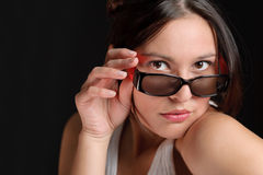 Designer glasses - sportive trendy woman fashion Stock Image