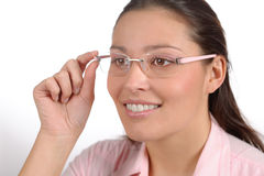 Designer glasses - trendy woman fashion Royalty Free Stock Images