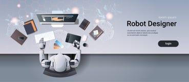 Designer gráfico do robô que senta-se na opinião de ângulo superior de trabalho do processo do material criativo do escritório da ilustração stock
