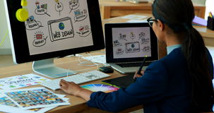 Designer gráfico fêmea que trabalha sobre a tabuleta gráfica em sua mesa video estoque