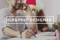 Designer gráfico que escreve para baixo ideias Fotografia de Stock