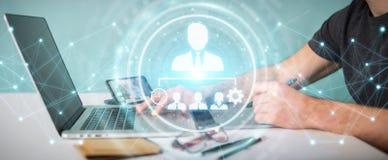Designer gráfico que usa a rendição da carta 3D da liderança do negócio Imagens de Stock Royalty Free