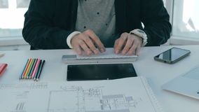 Designer Hands Working on Project, Typing on Laptop in bright modern office. 4K stock footage