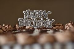 Designer happy birthday cake topper with glittered on both the side