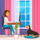 Designer  At Home Composition. Designer at home composition with laptop table and dog flat vector illustration Royalty Free Stock Images