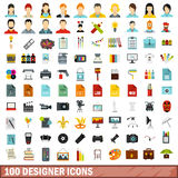 100 designer icons set, flat style. 100 designer icons set in flat style for any design vector illustration Royalty Free Stock Photography