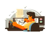 Designer illustrator draws. On work place with tablet. Vector illustration Stock Photography