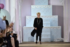 Designer Ines Di Santo greets the audience after the Ines Di Santo Fall 2017 Bridal collection show Stock Images