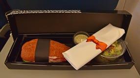 Designer inflight breakfast meal for Business Class Passenger Stock Photography