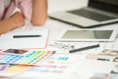 Designer. Interior designer's workplace with designer tools and color samples stock photography
