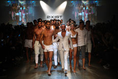 Designer  Jason Scarlatti and models walk the runway finale during 2(X)IST Men's Spring/Summer 2016 Runway Show Royalty Free Stock Image